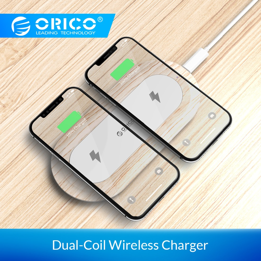 ORICO Wireless Charger Type C Dual Output Intelligent Charging Dual Coil Charger for iPhone 8 Samsung S8 Xiaomi MIX2S Lumia|Wireless Chargers| |  - title=