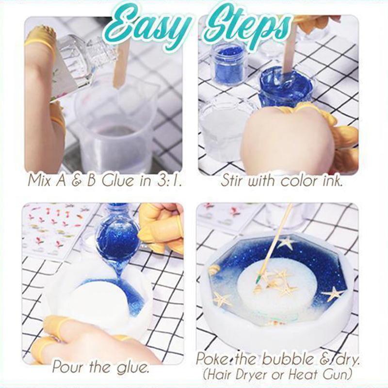 Transparent Crystal Clear Epoxy Resin Glue Kit A B Epoxy Resin Set For DIY Jewelry Crafts Yellowing Resistance Dropshipping 2