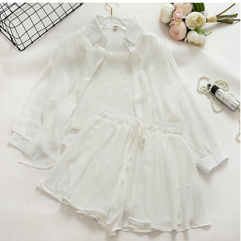 Casual Sunscreen Blouse And Camis Loose Shorts Women Set Sashes Summer Sweet Beach Camisole Chiffon 3 Pieces Suit