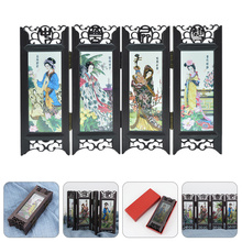 Screen-Decoration Folding-Screen Room-Divider China Small Gift Antique Four-Great-Beauties