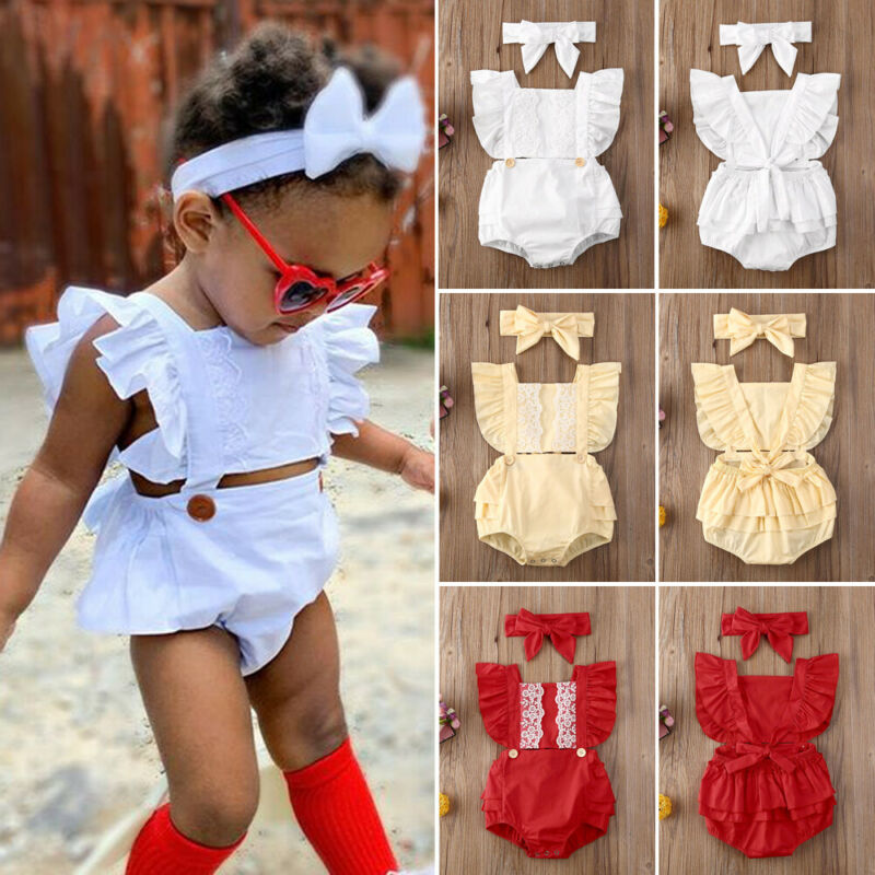 Pudcoco Newborn Baby Girl Clothes Solid Color Lace Ruffle Sleeveless Romper Jumpsuit Headband 2Pcs Outfits Sunsuit Clothes