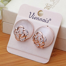 2 colors trend rose Rhinestone stud earrings flower ear Ornaments Delicate Zircon Earring Fashion Jewelry Bijoux gift For Women(China)