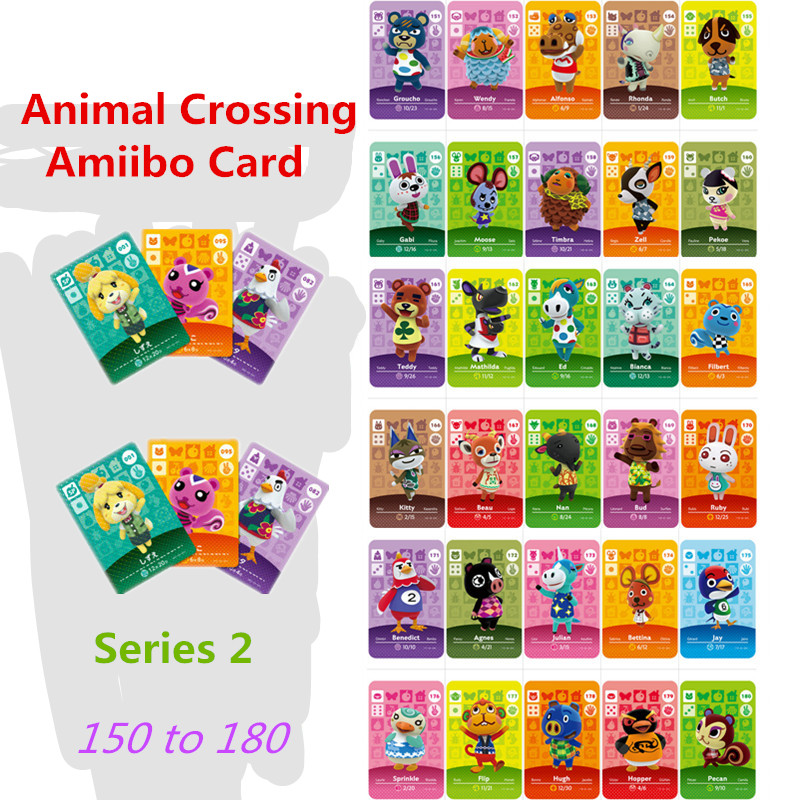 151-180 Amiibo Animal Crossing Amiibo Wolfgang Tangy Villager Card Series Set Season 2 Cross Game Amiibo Card Work For Ns Game