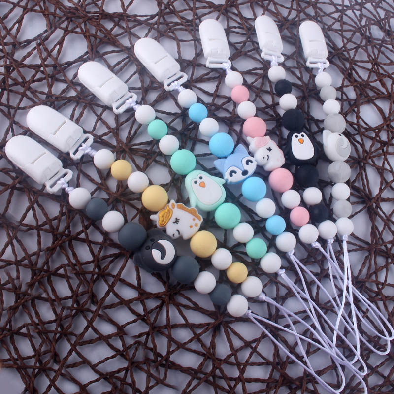 Cute BPA Free Silicone Animal Pendant Pacifier Clips Chain Nipple Holder For Infant Baby Shower Gift