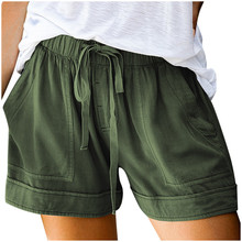 Loose Shorts Womens Plus-Size Pocketed Drawstring Elastic-Waist Candy-Colors Casual Comfy