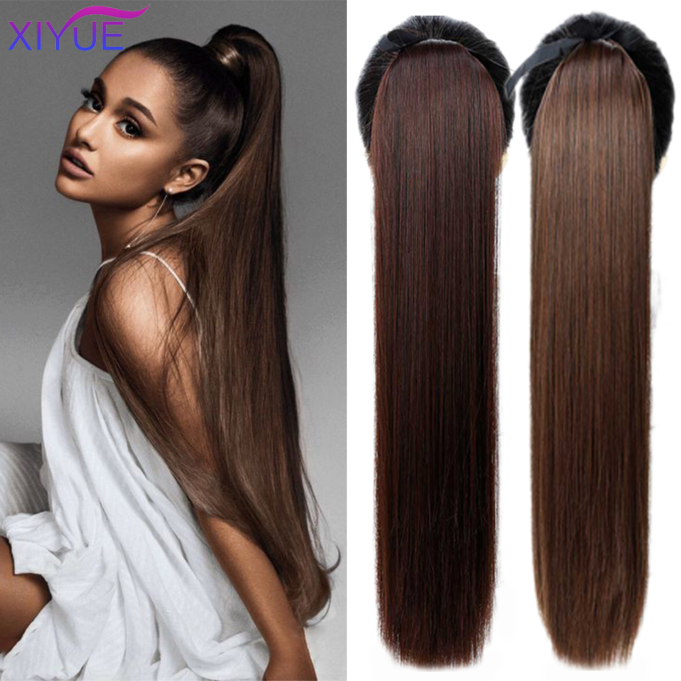 85CM Super Long Straight Clip Tail Wig Ponytail Wig And Synthetic Hair Clip Ponytail Extended 3 Colors Optional Headwear