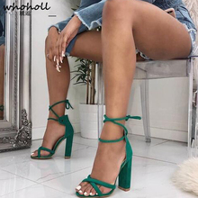 Women Sandals Summer Lace-up Fashion High Heels Peep Toe Shoes Female Square Heel Ladies Sandals Green, Black Size 35-40 ladies transparent square high heel sandals sexy peep toe mesh ankle boots summer high heels sandals women size 34 40