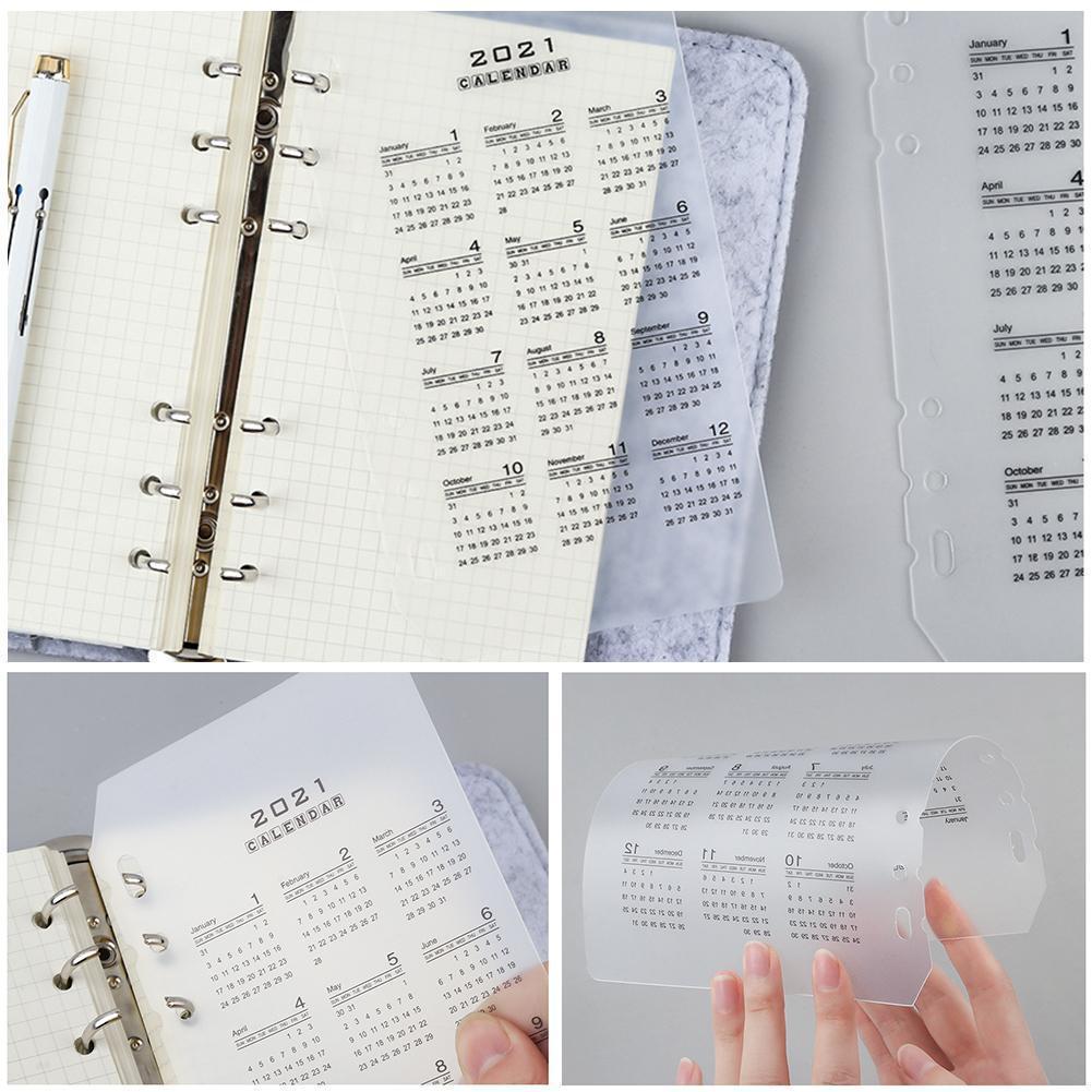 2021 Calendar PP Divider 6 Holes A5 A6 Loose Leaf Notebook Sheet Clip Index Inner Filofax Category Binder Planner Planner C1J3