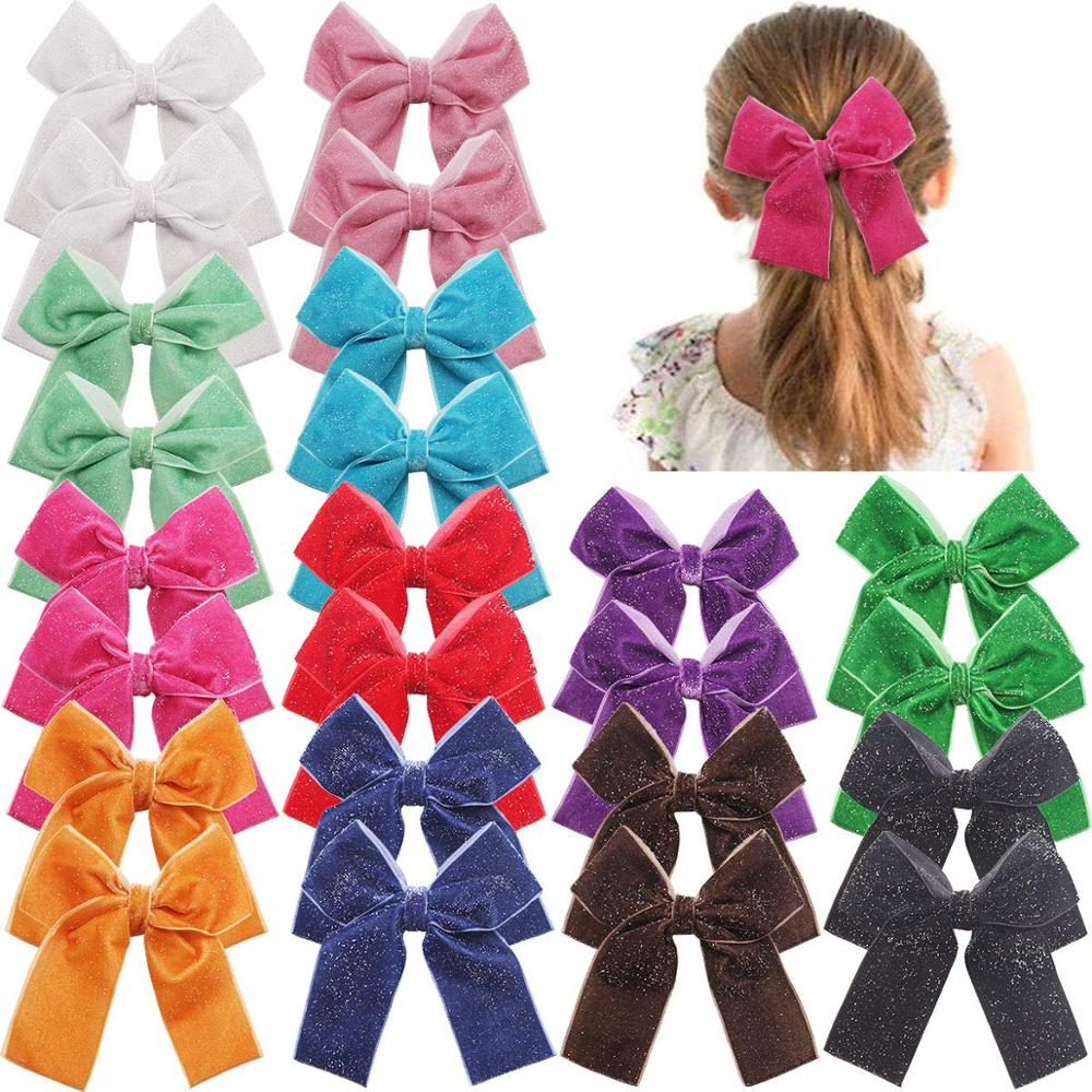 24PCS Velvet Bows Hair Clips 4 Inch Sparkly Sequin Solid Color Hair Bows With Alligator Clips Hair Accessories For Baby Girls To