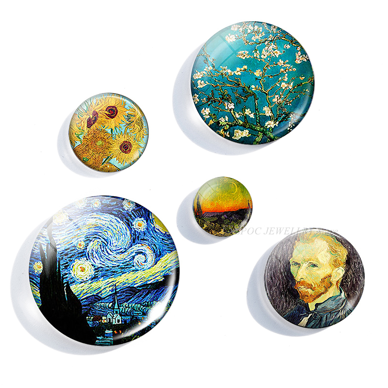 5PCS/SET Handmade 12/16/20/25/30mm Glass Cabochon Van Gogh Star Night Pendant Art Picture Jewelry Findings Accessories Gifts