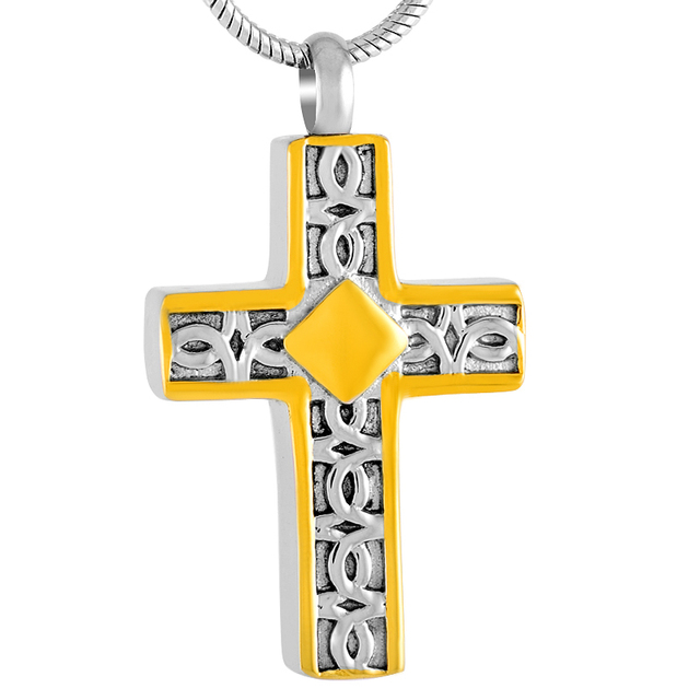 Cremation Pendant For Men  And Gold Stainless Steel Cross Memorial Urn Necklace Hold Human/Pet Ashes Keepsake 1