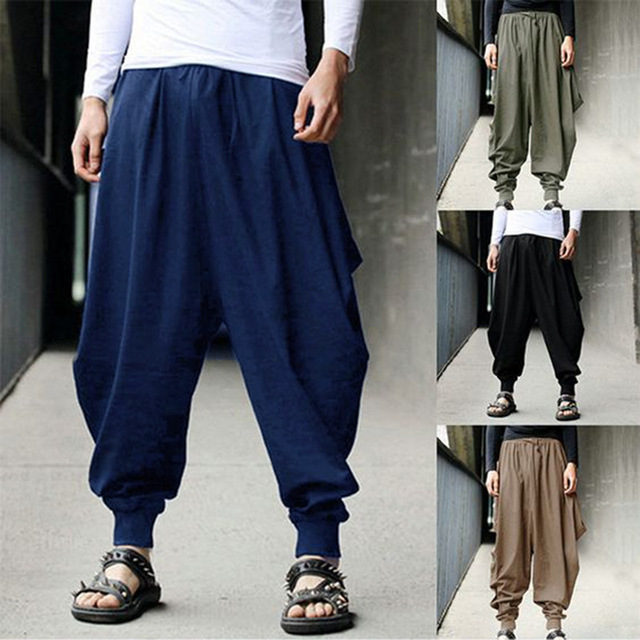 S-5XLPlus size Mens Vintage Hippy Boho Aladdin Harem Wide leg Ninja Trousers Casual Nepal Mens Jogger Full Length Pants bloomers 2