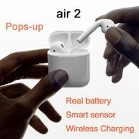 New Air 2 Clone Bluetooth Earphones W1 Chip Pop Up Window Earbuds Wireless Headset For iPhone Earphone 2 Generation pk i1000 tws