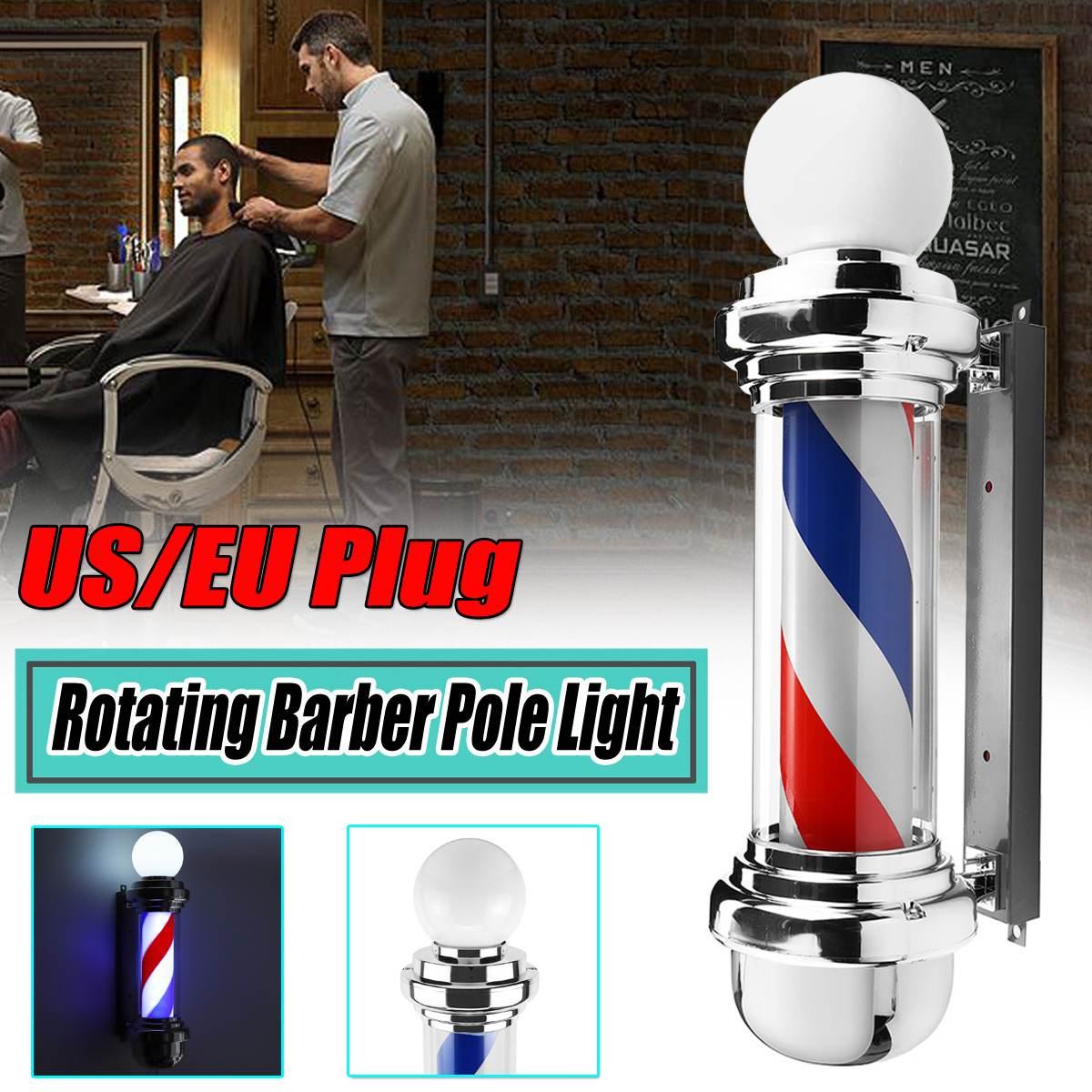 Hair Salon Light Barber Pole Led Light Rotating Light Lamp With Bulb Marker Lamp LED Downlights 68x19x24cm 220V EU/110V US Plug