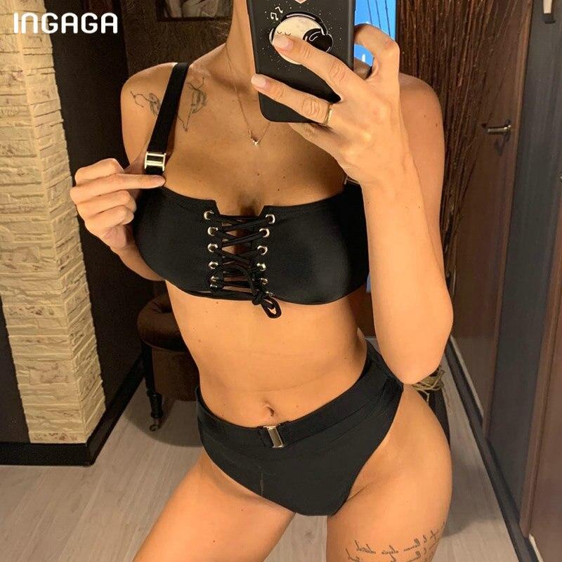 INGAGA 2020 Lace-up Bikinis Mujer Sexy Push Up Swimwear Women Fashion Belt Swimsuit Female New High Waist Bathers String Biquini