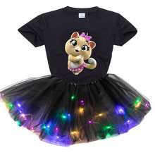 Kid Girls Clothing Set 2021 Summer T Shirt Kids Dress Clothes Outfits 44 Cat New 2Pcs Suit Tutu Dress Light LED Birthday Present
