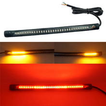 48 LED SMD Strip Motorcycle Car Tail Turn Signal Brake Stop Light 12V Brake Striped Signal License Plate Light Accessories motorcycle flexible strip tail brake stop turn signal indicator blinker license plate light integrated smd 48 leds 12v