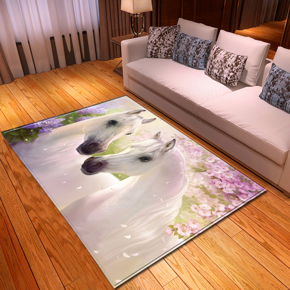 Creative Horse 3D Printed Carpets For Living Room Bedroom Area Rugs Hallway Doormat Bathroom Kitchen Absorb Water Anti-Slip Mats