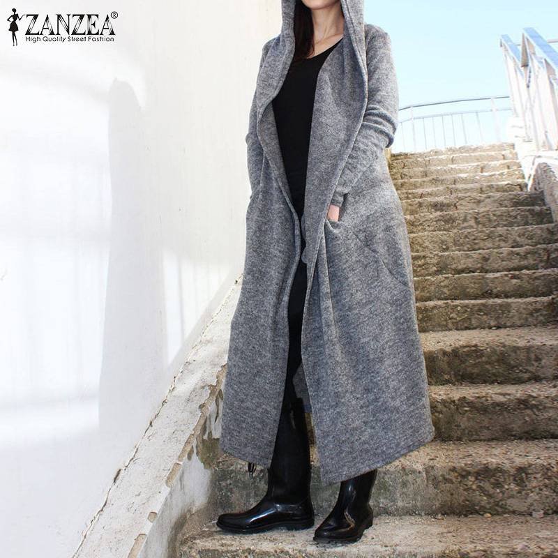 2019 Winter Solid Hooded Parkas Cardigans ZANZEA Open Stich Trench Coats Women Casual Long Sleeve Maxi Jackets Female Outercoats