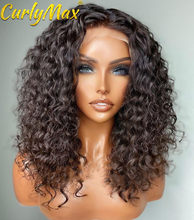 5x5 fechamento do laço frente perucas de cabelo humano para as mulheres onda profunda brasileira 30 Polegada cor natural água encaracolado peruca frontal