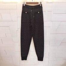 Pantalones de punto para mujer Otoño e Invierno 2019 pantalones casuales cómodos de lana de alta calidad con entramado de diamantes
