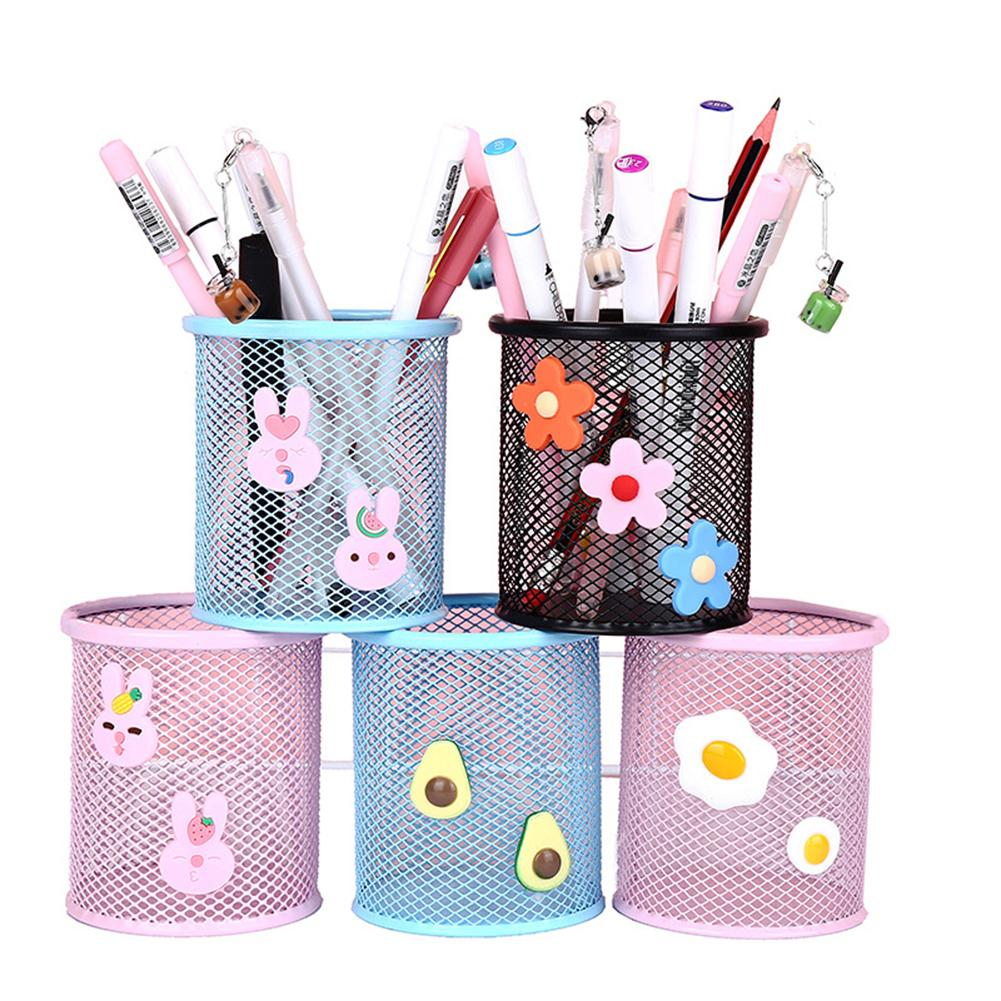 Cartoon Round Pen Holder Avocado Metal Mesh Hollow Pencil Container Office School Supplies Learning Stationery Organizer