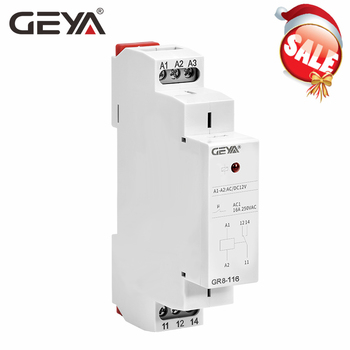цена на GEYA Din Rail Type GR8 AC DC 12V Switch Relay Intermediate Relay 8A 16A Auxiliary Relay