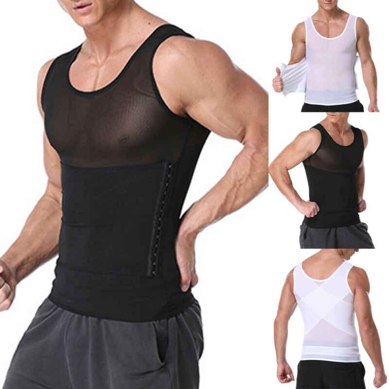 2019 modne najnowsze męskie odchudzanie urządzenie do modelowania sylwetki gorset Waist Trainer Vest Gym topy koszulka kompresyjna brzucha