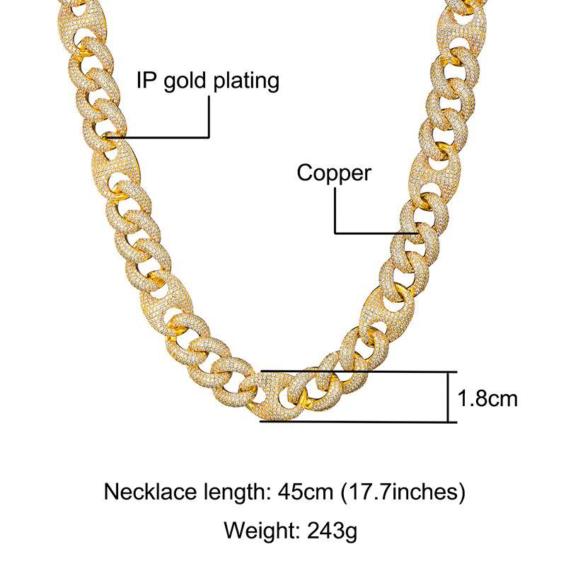 18MM ensemble Bling AAA CZ cubique zircone glacé boîte fermoir luxe cubain lien chaîne collier pour hommes rappeur Hip Hop bijoux 18''24'' - 5