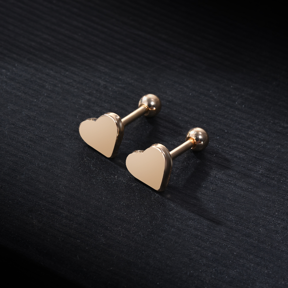 2pcs Piercing Jewelry Tragus Stud Earrings Cartilage Helix Heart Shape Ear Studs  women Party Jewelry