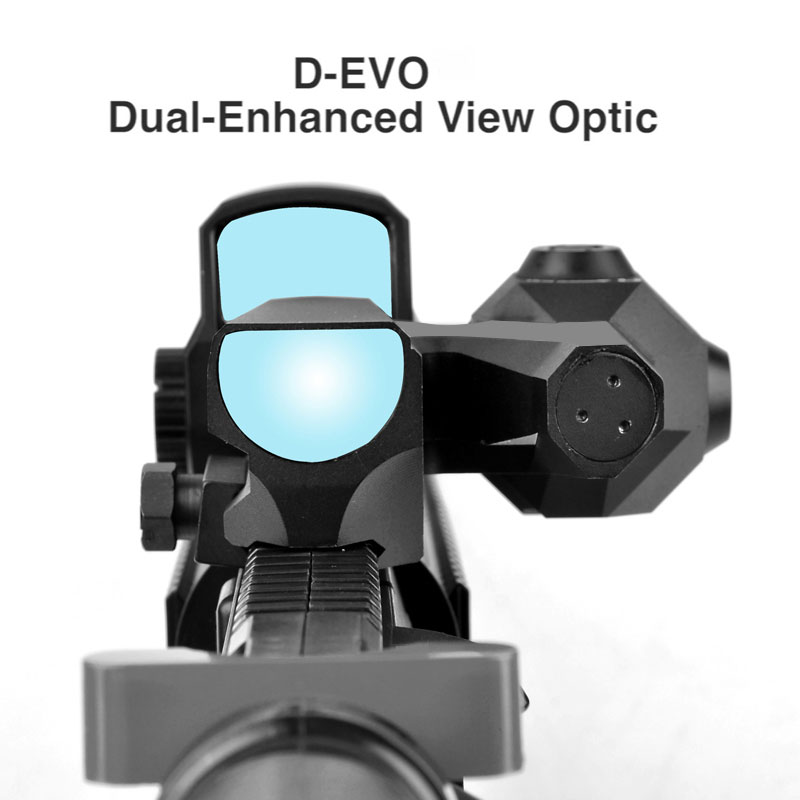 Dual-Enhanced View Optic D-EVO Reticle Rifle Scope Magnifier with LCO Red Dot Sight Reflex Sight