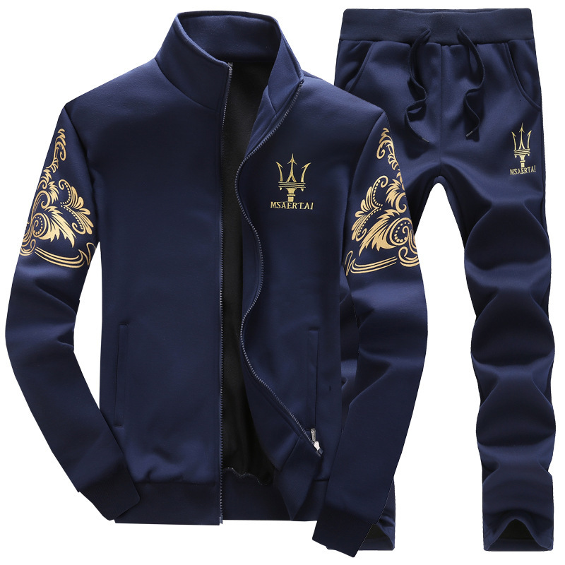 Men Sport Sets Slim Fitness Tracksuit Solid Zipper Print Running Sports Coat And Pants Gym Workout Sportswear Suits Plus Size