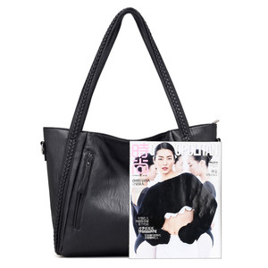 Image 5 - Luxury Womens Soft Leather Handbags Designer Brand Large Capacity Woven Shoulder Bags Ladies Casual Totes Black Travel Bags