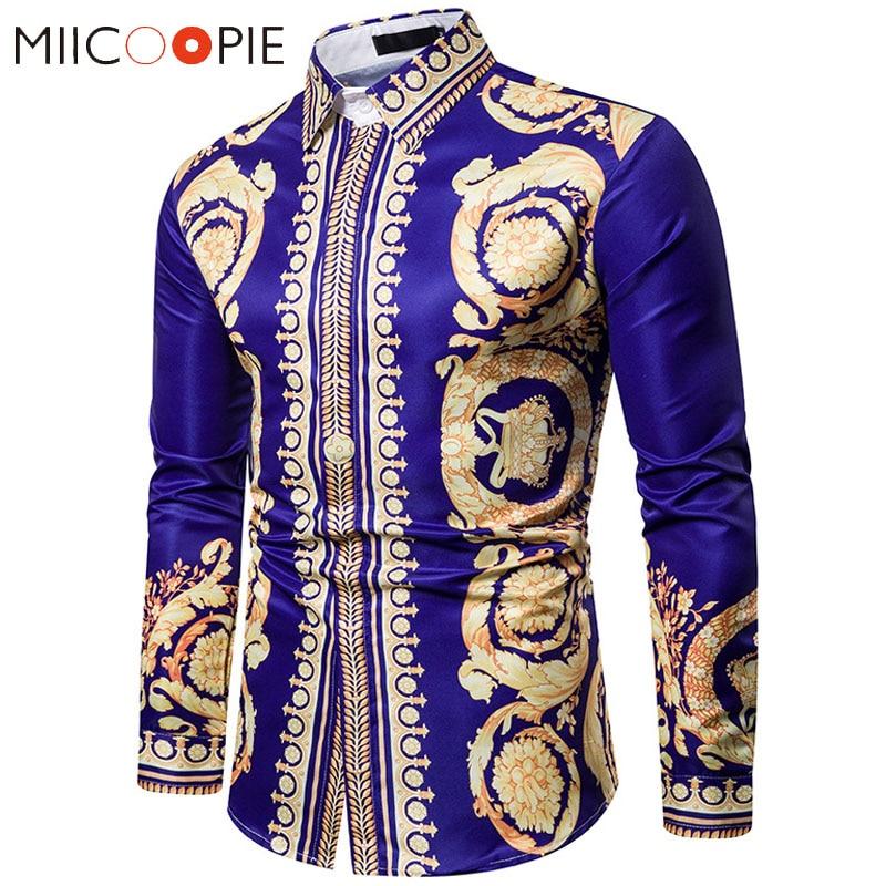 Luxury Floral Shirt Men Royal Crown Print Mens Shirts Casual Slim Fit Camisa Social Blue Baroque Party Formal Shirts For Men 3XL