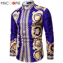 Luxe Bloemen Shirt Mannen Royal Crown Print Heren Shirts Casual Slim Fit Camisa Sociale Blauw Barokke Party Formele Shirts Voor mannen 3XL(China)