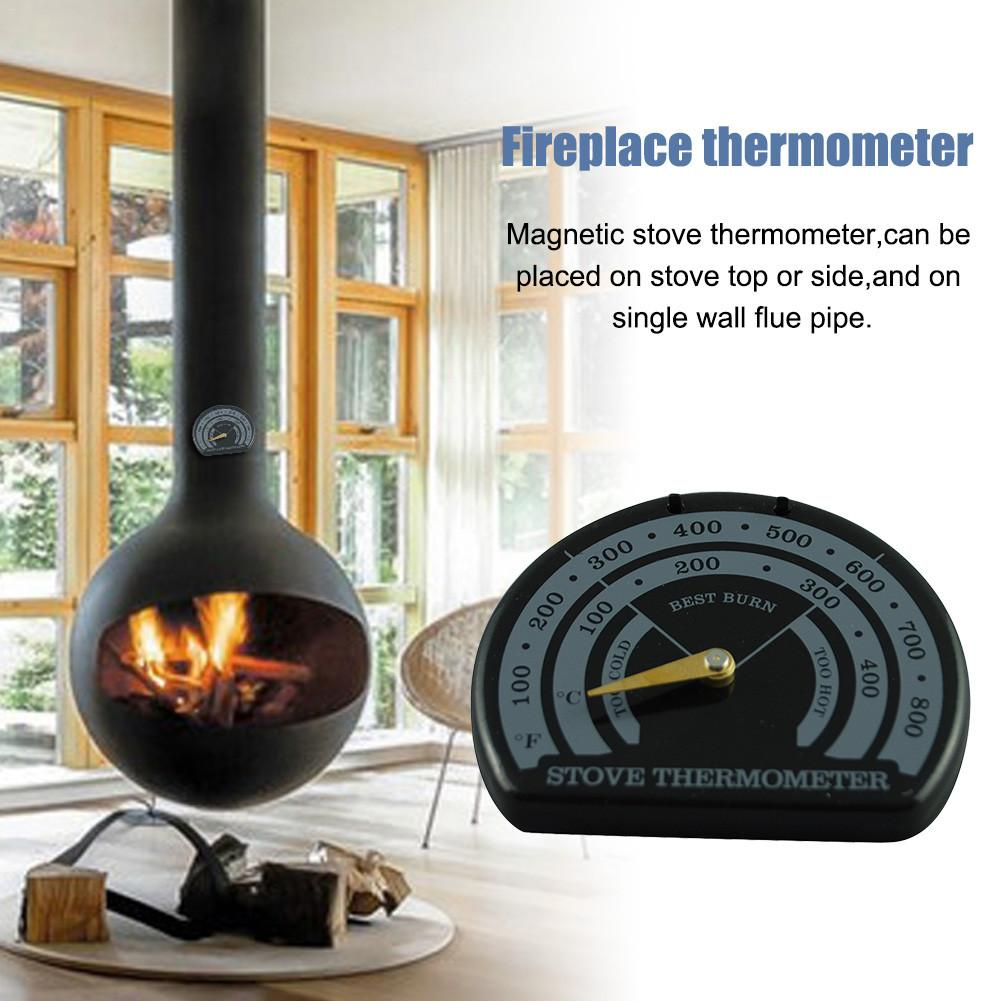 Magnetic Wooden Stove Thermometer Fireplace Stove Fan Meter Thermometer Fireplace Parts