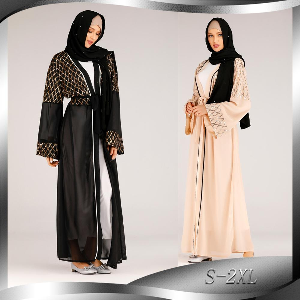 Women Black Abaya Kimono Hijab Muslim Dress Turkish Islam Clothing Kaftan Caftan Maroc Robe Soiree Grote Maten Dames Kleding