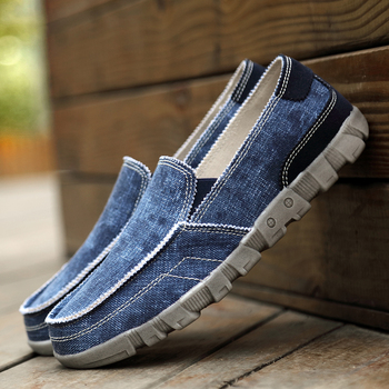 High Quality Casual Shoes Men 2019 Breathable Canvas Male Loafers Comfort Denim Flat Shoes Light Slip-On Male Loafers HC-600