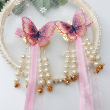 A pair of Chinese style butterfly-shaped pearl-embellished long ribbon hairpins Children's side clip headdress pearl embellished frill trim top