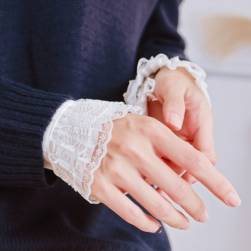Women Girls Decorative Chiffon Fake Flare Sleeves Floral Lace Pleated Ruched False Cuffs Apparel Wrist Warmers With Four Button