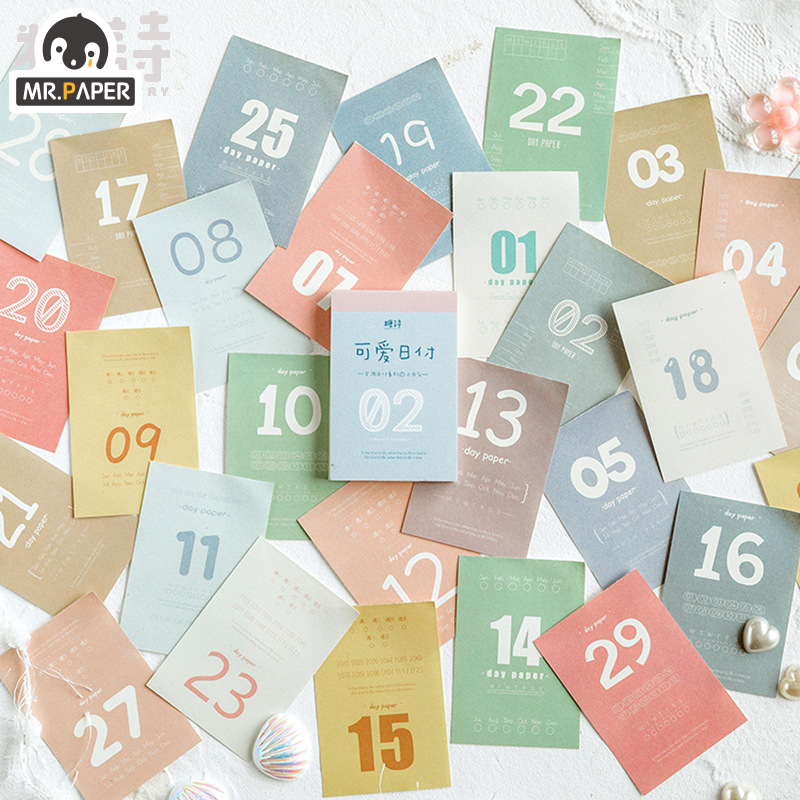 Mr.Paper 31pages 4 Designs Vintage Retro Notepad  Laptop Diary Writing Points Cycle Down Portable Note One Month Calendar 2