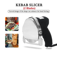 Barbecue Meat Slicer 2Blades Machine Professional Electric bbq Grill Cutter Tools Shawarma Doner Kebab Sliced Meat
