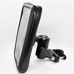 Image 2 - Motorcycle Cell Phone Mount Holder with Waterproof Zipper Case Handlebar Rail Mount Holder Case for iPhone 7/X, Galaxy S9 Plus