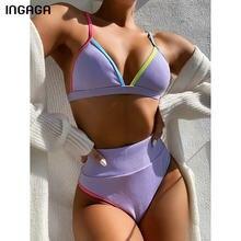 INGAGA-Bikinis de cintura alta para mujer, trajes de baño con Push-Up, traje de baño de tirantes, Bikini unicolor, ropa de playa, conjunto de Bikini con cuello en V