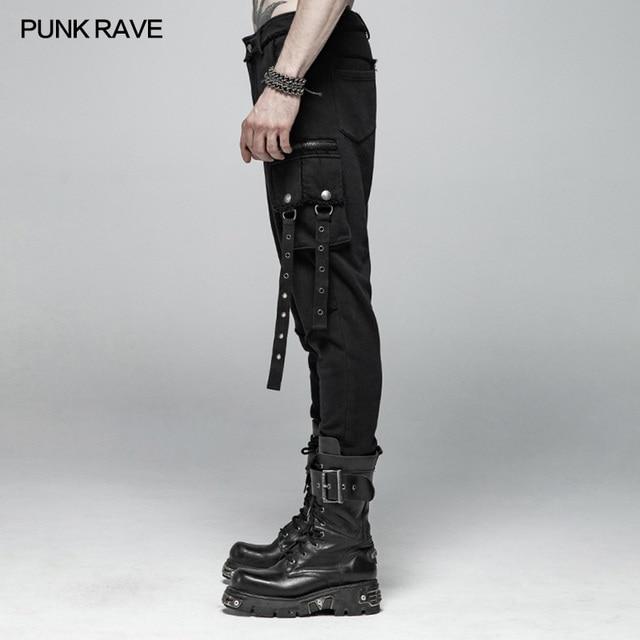 PUNK RAVE Mens Punk Rock Black Knit Trousers Casual Mens Streetwear Big Pocket Long Punk Personality Cross Pants 2