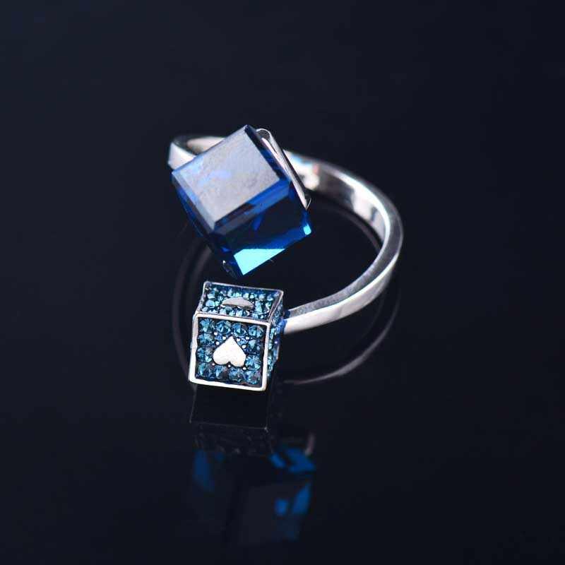 SINLEERY Chic Blue Zircon Cube แหวนเงินคริสตัลหัวใจปรับหมั้นแหวนเครื่องประดับ JZ661 SSD
