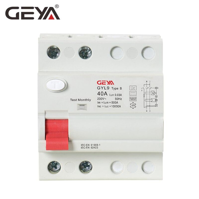 Livraison gratuite GEYA B Type RCCB disjoncteur de courant résiduel DC ELCB 2P 63 Amp 30mA Type B RCD 10KA