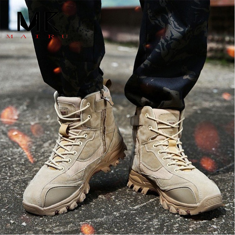 Men's Military Boot Combat Mens Chukka Ankle Boot Tactical Big Size Army Boot Male Shoes Safety Motocycle Boots