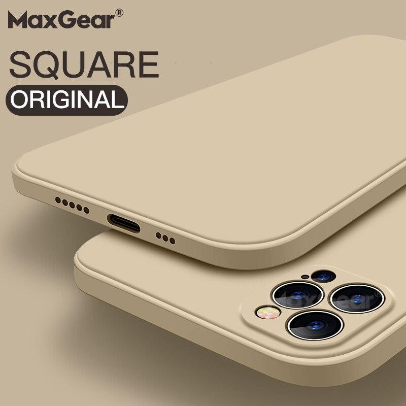 Luksusowy oryginalny kwadratowy płynny silikonowy pokrowiec na iPhone 12 11 Pro Max Mini X XR XS Max 7 8 6s Plus SE 2020 odporny na wstrząsy miękka okładka