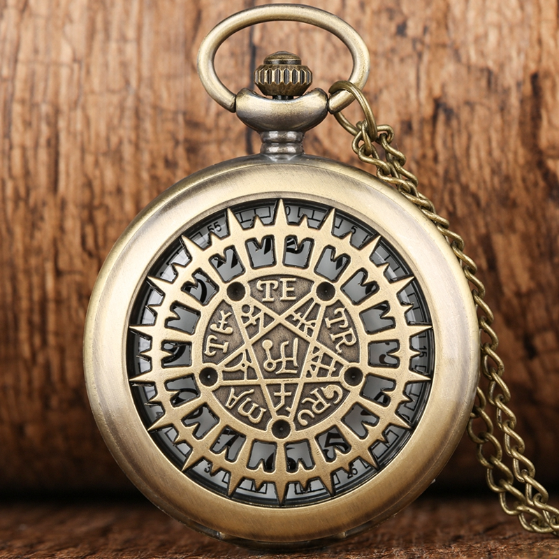 Hollow Pentagram Supernatural Quartz Pocket Watch Men Women Retro Necklace Pendant Chain Birthday Gifts For Men Women Friends